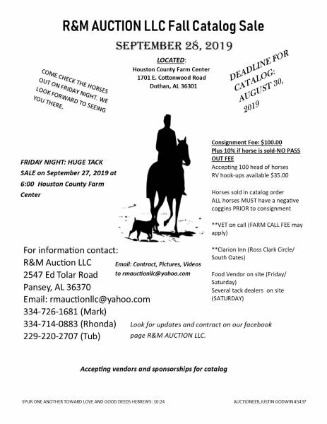 Horse and Tack Auction August 9, 2019