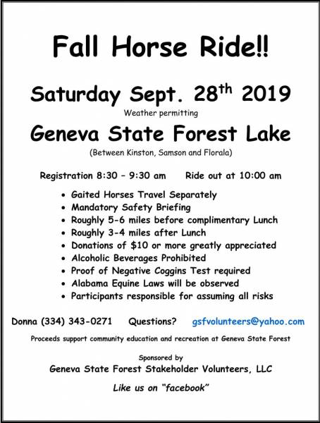 Sept. 28 Trail Ride at Geneva State Forest