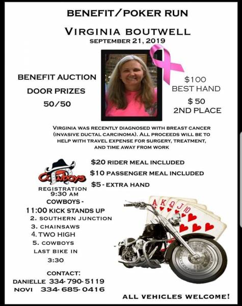 Benefit/Poker Run For Virginia Boutwell