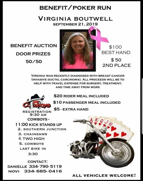 Benefit/Poker Run For Virginia Boutwell