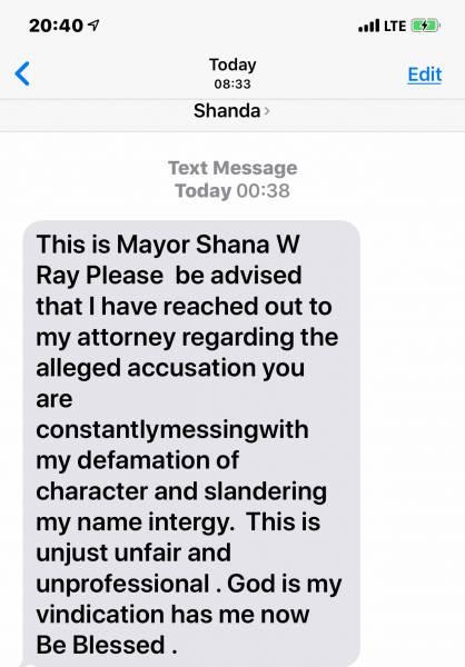 Gordon Mayor Shana Ray - Possible Intimidating A Witness - And Text Threats To Rickey Stokes