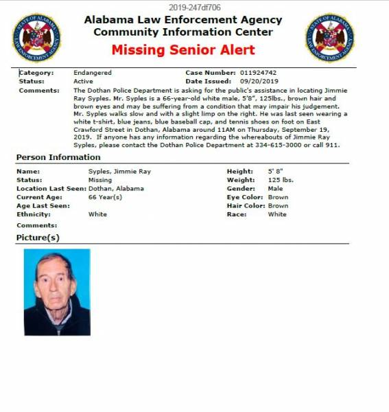 Updated at 12:53 PM... Missing Senior Alert