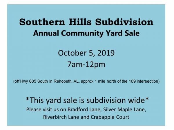 Southern Hills Subdivison Annual Community Yard Sale