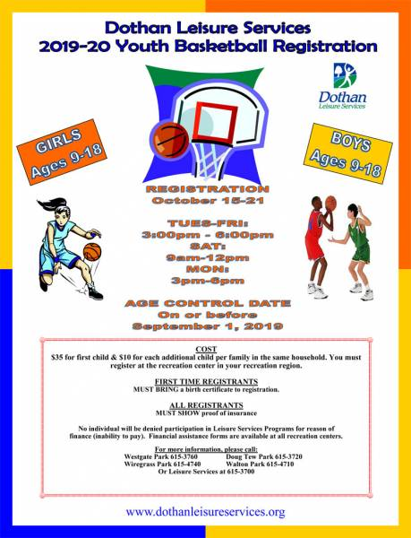 Dothan Leisure Services 2019-20 Youth Basketball Registration