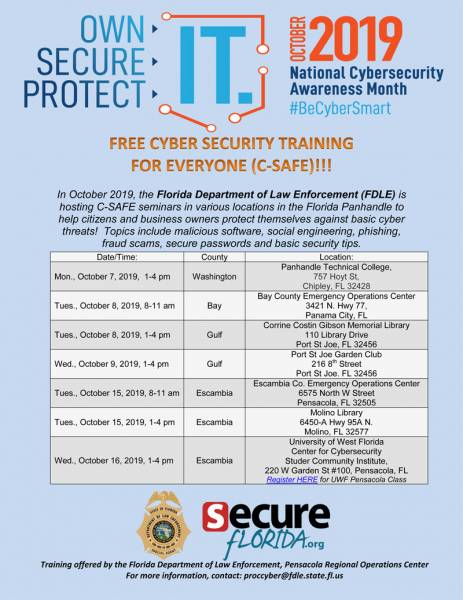 FDLE Pensacola offers free training during cybersecurity month