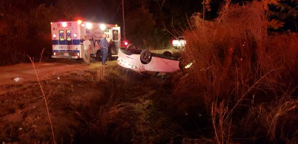 7:21 PM.. Vehicle Over Turned on South Park at the County Line
