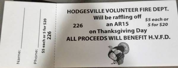 Hodgesville Fire Department Holding Raffle