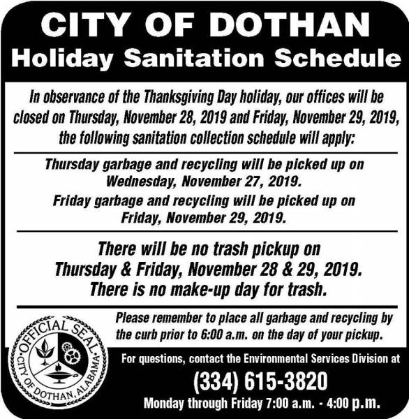City of Dothan Holiday Sanitation Schedule