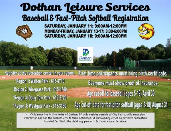 City Of Dothan Holding Youth Baseball and Fast Pitch Softball Registrations