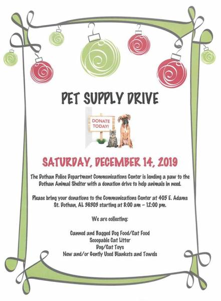Pet Supply Drive Hosted by the Dothan Police Dept. Set for December 14th