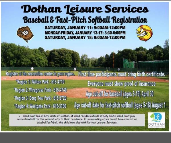 The Dothan Department of Leisure Services Holding Youth Baseball
