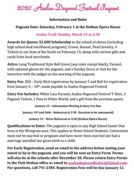 2020 Azalea Dogwood Pageant set for February 1st