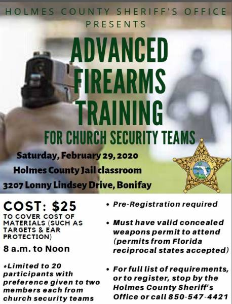 ADVANCED FIREARMS TRAINING OFFERED WITH FOCUS ON CHURCH SECURITY TEAMS