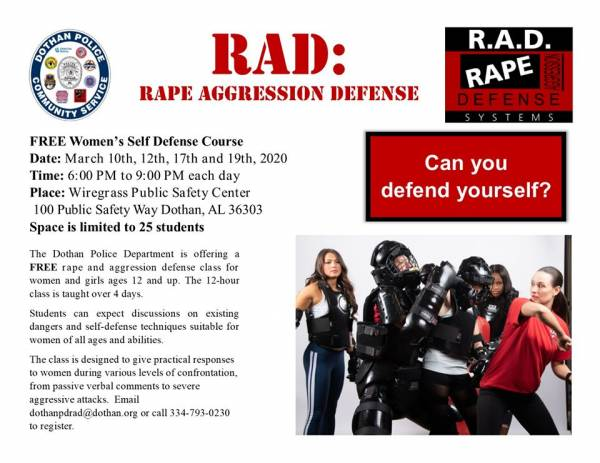 Dothan Police Hosting R.A.D Woman's Self-Defense Course