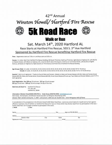 42nd Annual Winston Howell/Hartford Fire Recue 5K Road Race