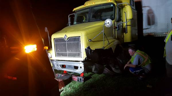 8:44 PM... Semi Runs Off the Road in the 8500 Block of East Hwy 52 in Webb