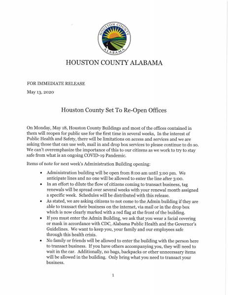 Houston County Officer Sceduled to Re-open Monday