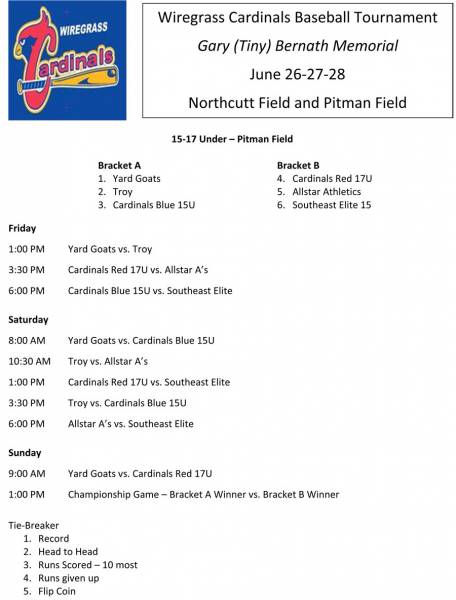 Wiregrass Cardinals Baseball Tournament