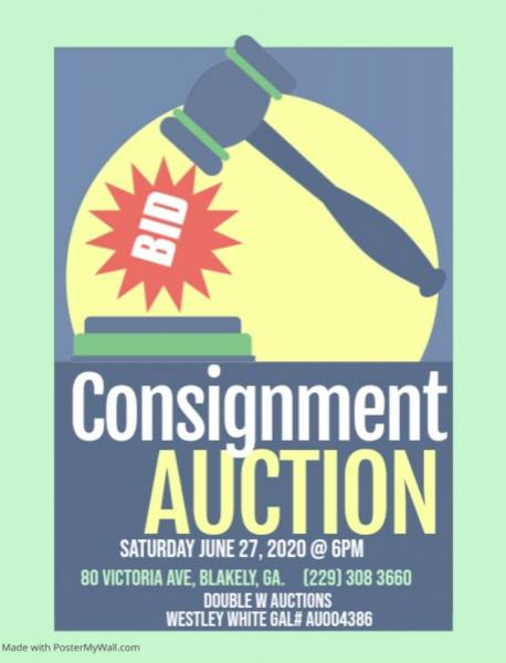 Consignment Auction on June 27th in Blakely