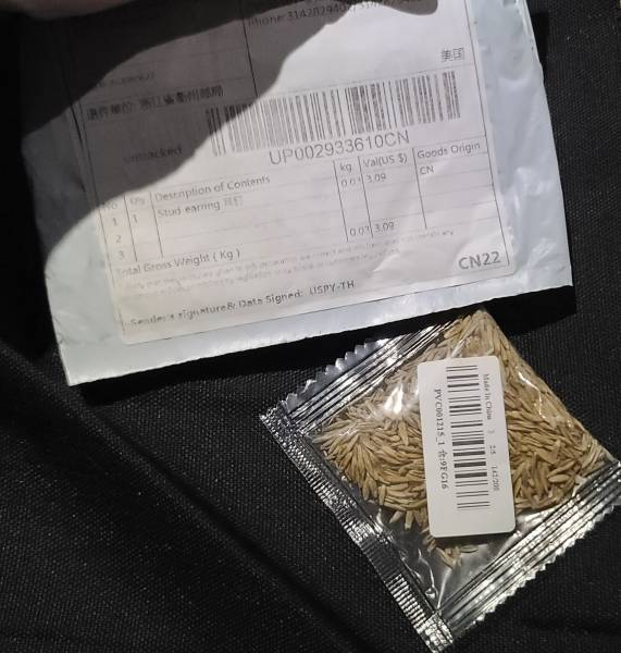 Unsolicited Seed Packages from China Delivered to Alabama Residents