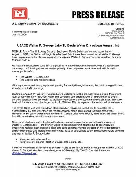 USACE Walter F George Lake to Begain Water Drawdown August 1st
