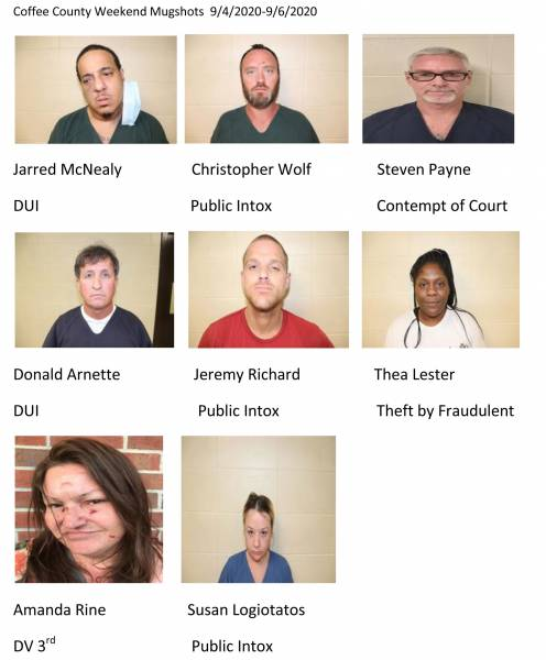 Coffee County Weekend Mugshots  9/4/2020-9/6/2020