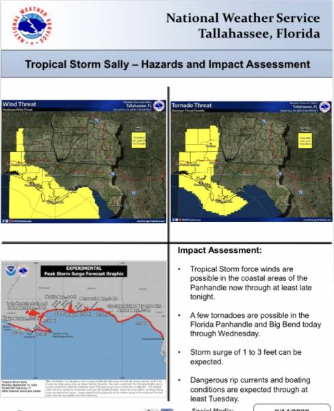 TS Sally Monday 5am Update