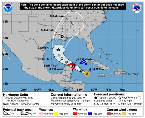 11:00 AM UPDATE on Hurricane Delta Upgraded to Category 4