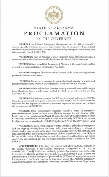 Governor Kay Ivey issues a State of Emergency