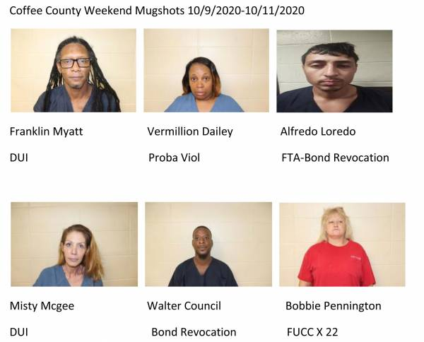 Coffee County Weekend Mugshots 10/9/2020-10/11/2020