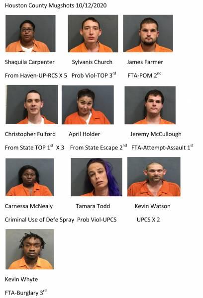 Houston County Mugshots 10/12/2020