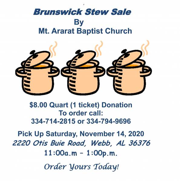 Mt, Ararat Baptist Church Hosting it's Annual Brunswicl Stew Sale