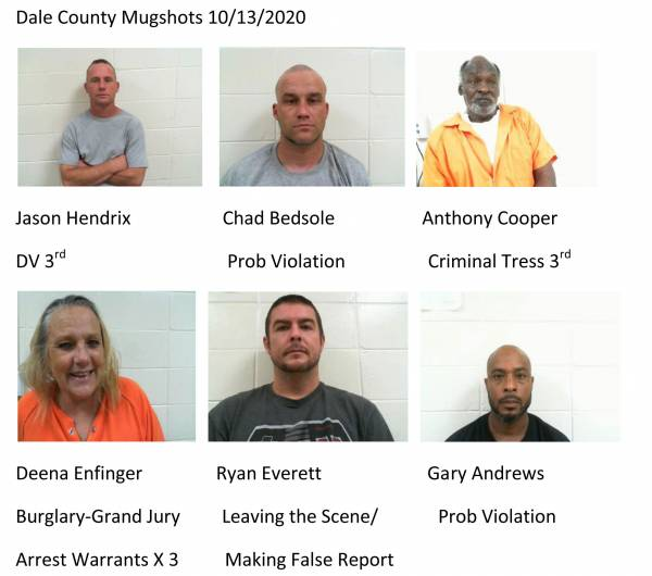 Dale County Mugshots 10/13/2020