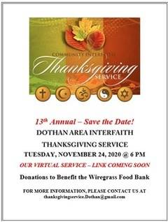 13th Annual Save the Date Dothan Area Interfaith Thanksgiving Service