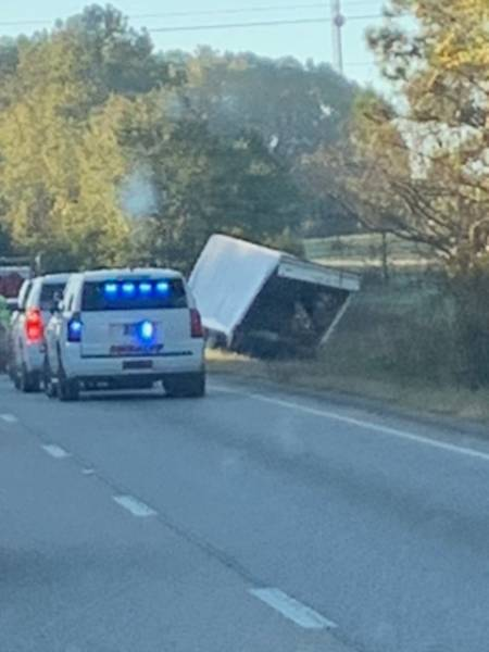 6:12 AM. Semi Over Turned Dale County