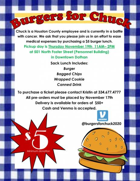 Burgers for Chuck - Please Help by Supporting this Cause