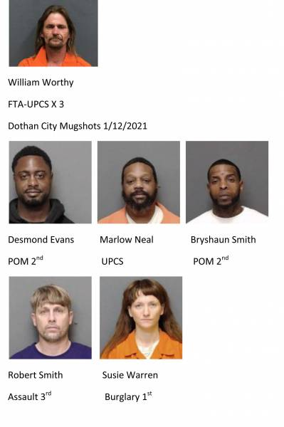 Houston County / Dothan City Mugshots 1/12/2021
