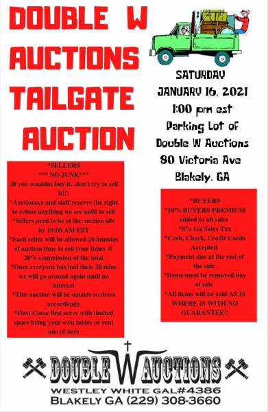 Double W Actions Host Tailgate Auction January 16th