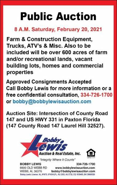 Public Auction Set for February 20th