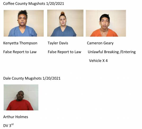Dale County/Coffee County Mugshots 1/20/2021