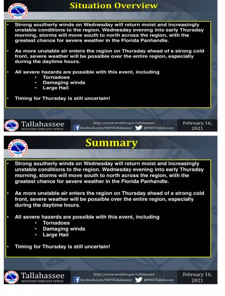 Weather Update for Storms Wednesday thru Thursday