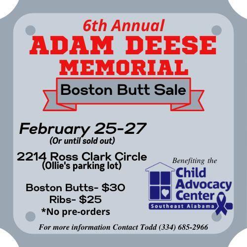 Adam Deese 6th Annual Memorial Bsoton Butt Sale