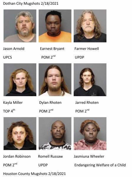 Dothan City/Houston County Mugshots 2/18/2021