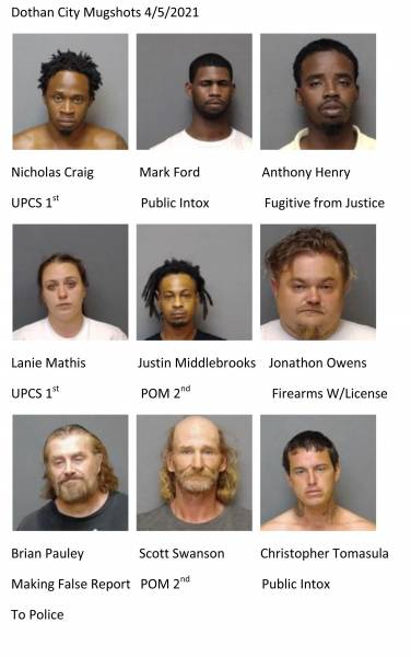 UPDATE 11:28 Dothan City / Houston County Mugshots 4/5/2021