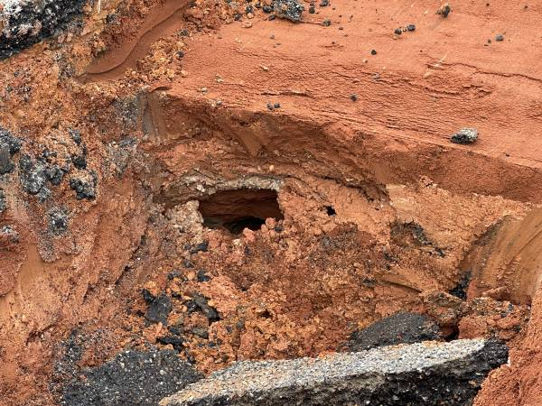 5:17 PM.    MONTGOMERY HIGHWAY - Closed - Sink Hole