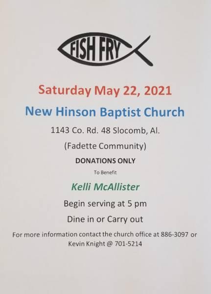 New Hinson Baptist Church Holding a Fish Fry