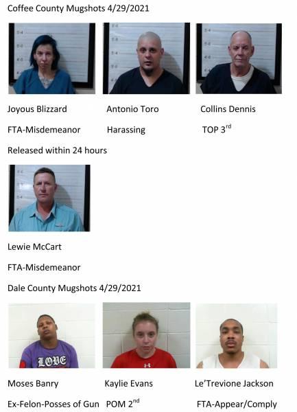 Coffee County / Dale County Mugshots 4/29/2021