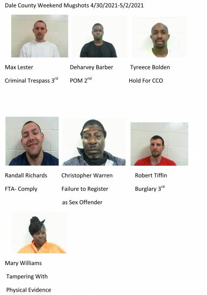Coffee County/Dale County Weekend Mugshots 4/30/2021-5/2/2021