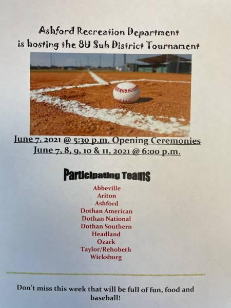 Ashford Recreation Dept is Hosting the 8U Sub District Tournament