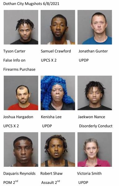 Dothan City /Houston County Mugshots 6/8/2021